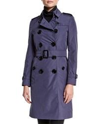 Burberry Double Breasted Belted Trench Coat Dark Heather Blue Navy