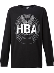 Hood By Air Logo Print Long Sleeve T Shirt Black