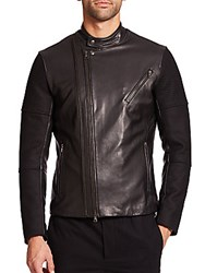 Vince Leather Paneled Wool Moto Jacket Black