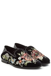Alexander Mcqueen Embroidered Velvet Slippers With Leather Florals