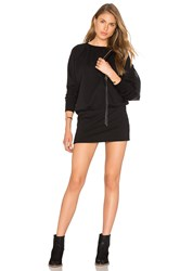 Bobi Cozy French Terry Long Sleeve Dress Black