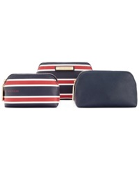 Tommy Hilfiger Th Signature Coin Dome Cosmetics Case Set Navy Red White
