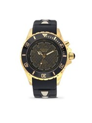 Kyboe Power Gold Shade Black Silicone And Goldtone Stainless Steel Strap Watch 40Mm