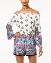 Be Bop Juniors' Printed Off The Shoulder Romper Turquoise Red