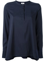 Brunello Cucinelli One Button Pleated Blouse Blue
