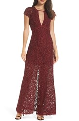 Harlyn Cap Sleeve Lace Gown Pomegranate