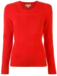 Burberry Crew Neck Jumper Women Cashmere Wool S Red