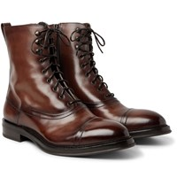 Berluti Shearling Lined Polished Leather Boots Brown