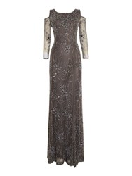 Shubette Sequin Gown With Cold Shoulder Pewter