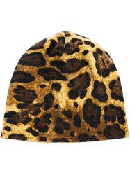Dolce And Gabbana Leopard Print Beanie Nude And Neutrals