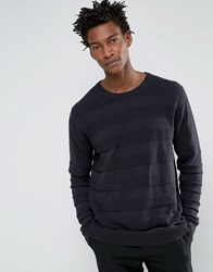 Troy Tone Stripe Jumper With Crew Neck Navy