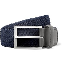 Kjus Golf 3.5Cm Navy Leather Trimmed Woven Webbing Belt Navy
