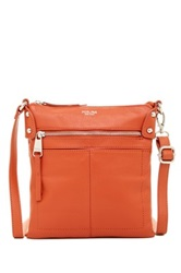 Perlina Ellen Leather Zip Flat Crossbody Orange