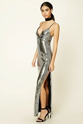 Forever 21 Sequined Maxi Cami Dress Silver