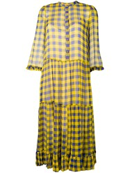 Baum Und Pferdgarten Check Print Shirt Dress Yellow