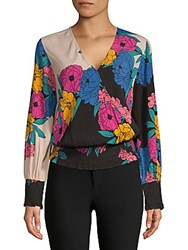 Plenty By Tracy Reese Smocked Surplice Top Horizon Floral