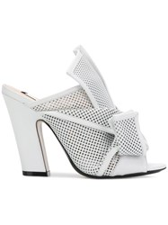 N 21 No21 Abstract Bow Mesh Mules White