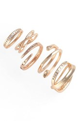 Kendra Scott Women's Robyn 5 Pack Rings White Cz Rose Gold
