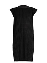 Issey Miyake Pata Pata Capped Sleeve Pleated Dress Black
