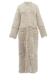 Raey Collarless Curly Shearling Maxi Coat Grey