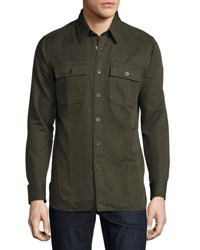 Tom Ford Cotton Blend Twill Military Shirt Dark Olive