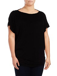 Max Studio Solid Boatneck Blouse Black