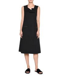 Tomas Maier Sporty Poplin Midi Dress Black