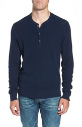 Nordstrom Big And Tall Shop Merino Wool Blend Henley Navy Night