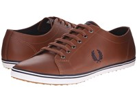 Fred Perry Kingston Leather Tan Carbon Blue Men's Lace Up Casual Shoes Brown