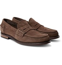 Officine Creative Cambridge Suede Penny Loafers Chocolate