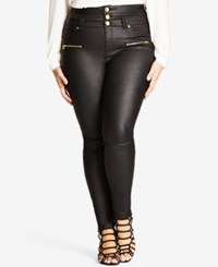 City Chic Trendy Plus Size Coated High Waist Black Wash Skinny Jeans Black Fr