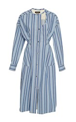 Isabel Marant Selby Striped Round Neck Dress Blue