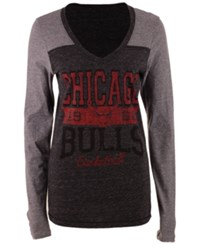 5Th And Ocean Women's Chicago Bulls Dunk Long Sleeve T Shirt Black Gray