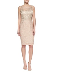 Kay Unger New York Lace Bodice Tweed Sheath Dress