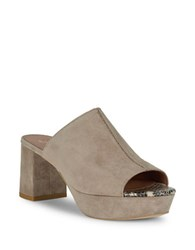 Free People Moody Suede High Heel Platform Sandals Grey