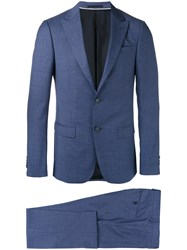 Z Zegna Peaked Lapel Two Piece Suit Blue