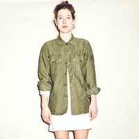 Mint Vintage Unisex Military Green Sateen Jacket