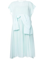 Delpozo Oversized Bow Flared Dress Green