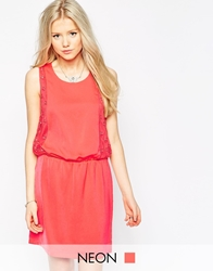 Colorblock Color Block Dress With Star Lace Detail Pink