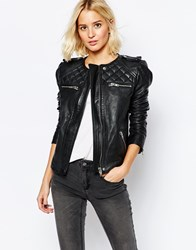 Selected Isabello Collarless Leather Jacket Black