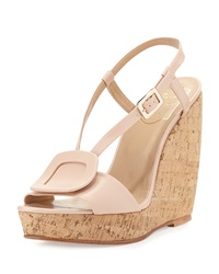 Roger Vivier Leather Halter Wedge Sandal Beige