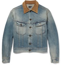 Saint Laurent Aint Corduroy Trimmed Wahed Denim Jacket Mid Denim