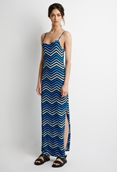 Forever 21 Chevron Striped Maxi Dress Blue Aqua