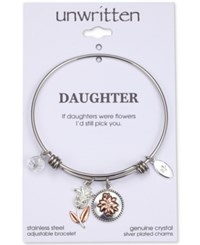 Unwritten Cubic Zirconia If Daughters Were Flowers I'd Still Pick You Cubic Charm Adjustable Bangle Bracelet In Two Tone Stainless Steel