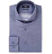 Hugo Boss Blue Jerrin Slim Fit Cutaway Collar Cotton Jacquard Shirt Blue