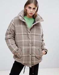 Bershka Check Padded Coat Multi