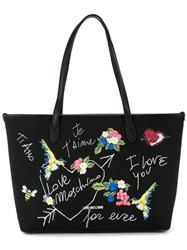Love Moschino Bird Embroidered Shoulder Bag Women Cotton Linen Flax Polyurethane One Size Black