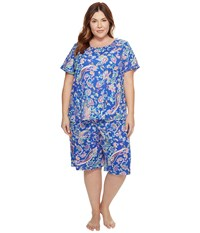 Lauren Ralph Lauren Plus Size Short Sleeve Bermuda Pj Set Royal Blue Paisley Women's Pajama Sets Navy