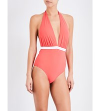 Emma Pake Lucia Halterneck Swimsuit Coral White