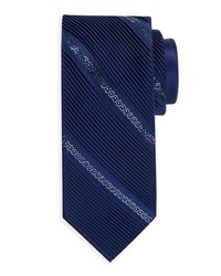 Stefano Ricci Crystal Pleated Silk Tie Dark Blue